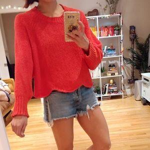 Zara Wavy Hem Knit Cropped Sweater in Red/Orange